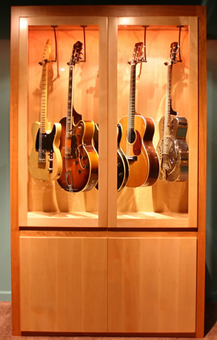 Xenon Low Voltage Light Strips Illuminates a Guitar Collectors Showcase