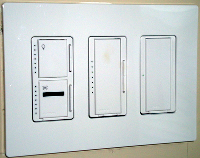3-Gang Wall Box with Maestro Dimmers