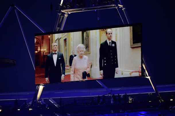 The Queen and James Bond on the LED screen at the 2012 Olympics