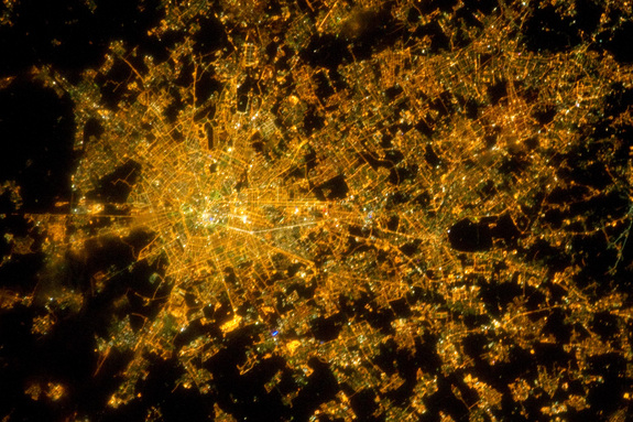 Milan from space at night